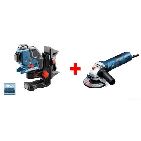 Laser ligne GLL 3-80 P + support BM1 Plus + coffret L-BOXX + Meuleuse GWS 7-125 Bosch