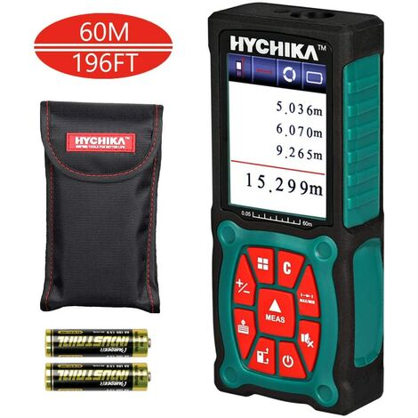 Laser Measure 60M, HYCHIKADigital Measure, Accuracy ±1.5mmwith LCD Color Display, 2 Laser Modules and 3 Units for m/in/ft, 2 AA Batteriesand Carrying Bag