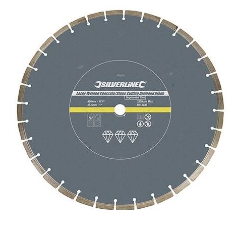 Laser-Welded Concrete & Stone Cutting Diamond Blade - 450 x 25.4mm Segmented Rim