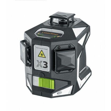 Laserliner X3-Laser Pro Láser de líneas cruzadas con soporte de pared en L-boxx - 3 líneas - 30m