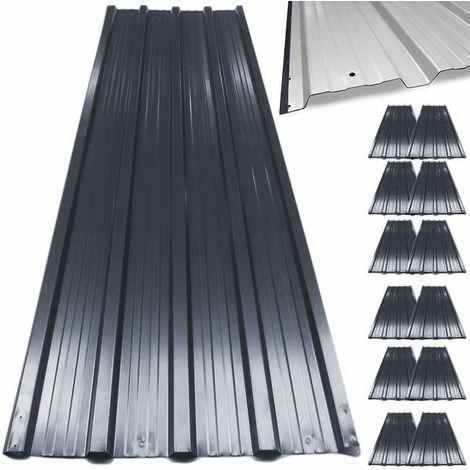 Lastra lamiera metallo nero copertura veranda tettoie tetto 7mq 12 fogli