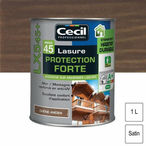 Lasure Cecil Professionnel Protection Forte Indice 45 LX545+ acrylique 1L - plusieurs modèles disponibles
