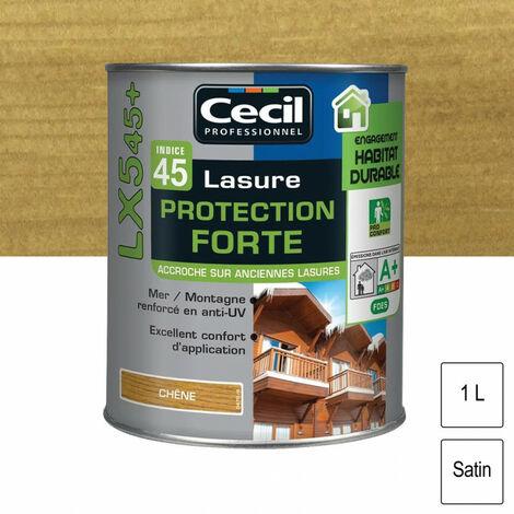 Lasure Cecil Professionnel Protection Forte Indice 45 LX545+ acrylique 1L - Teinte: chene