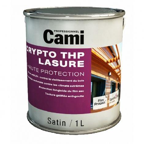 LASURE CRYPTO THP CHENE FONCE 1L -Lasure de protection du bois en phase solvant- CAMI