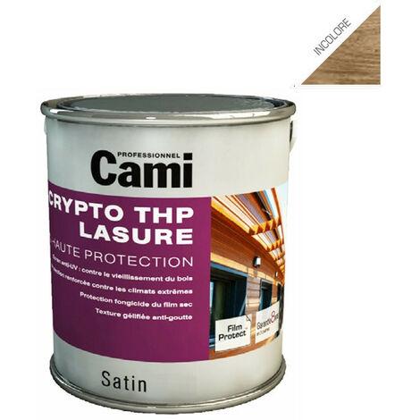 LASURE CRYPTO THP INCOLORE 2,5L-Lasure de protection du bois en phase solvant- CAMI