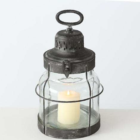 Laterne aus Metall + Glas Ø 16,5 x 32 cm Windlicht Aufhängung Kerze