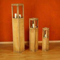 Laterne Windlicht Holzlaterne Windlichtset braun Säulen Rustica Kerze 3 tlg Set