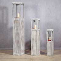 Laterne Windlicht Säulen Rustica Kerze Holzlaterne Windlichtset weiß 3 tlg Set