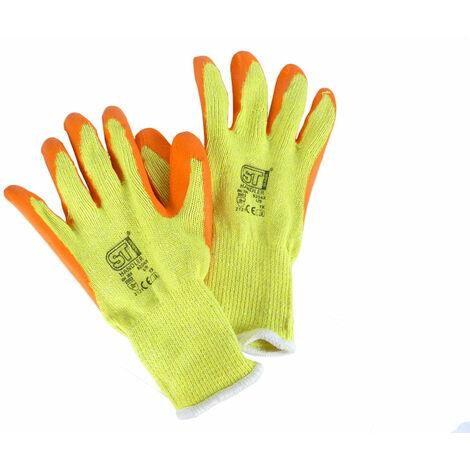 Latex Coated Orange Rubber Safety Work Gloves