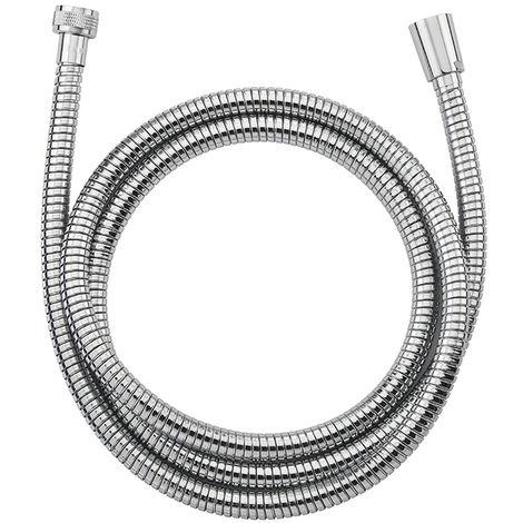 latiguillo NF de acero inoxidable cromada de doble grapa, extensible de 1,75 a 2,25 m de longitud