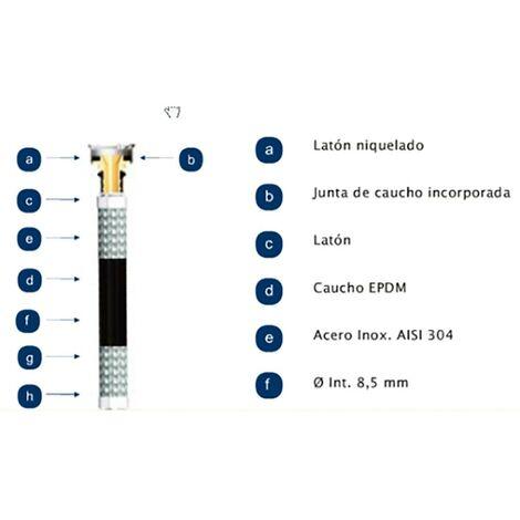 Latiguillo Sanitario Macho Hembra 20 Bares Maximo 110º Aenor 3/8-3/8'-35Cm Inox Mateu 701035002