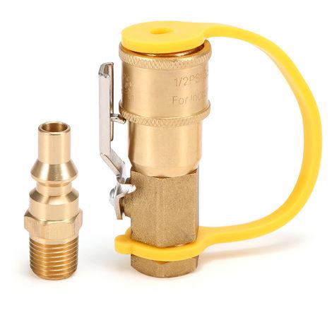 Laton macizo de 1/4 '' RV propano Conectar adaptador de propano / gas natural de desconexion rapida Kit con valvula de cierre, 3 #
