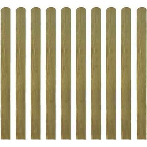 Lattes imprégnées de clôture 10 pcs Bois 120 cm