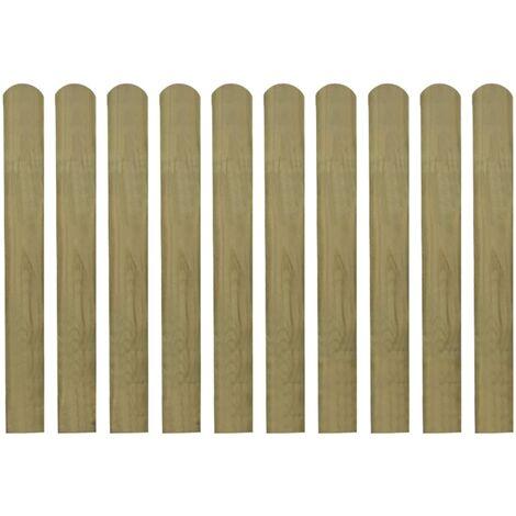 Lattes imprégnées de clôture 10 pcs Bois 80 cm