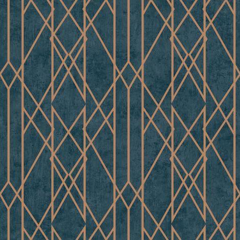 Lattice Geometric Wallpaper Navy Blue Copper Metallic Shimmer Stripes Rasch