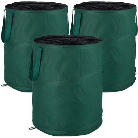 Laubsack selbstaufstellend, 3er-Set, Gartenabfallsack Pop-Up, 160 L, Gartensack selbststehend, ∅: 55 cm, grün