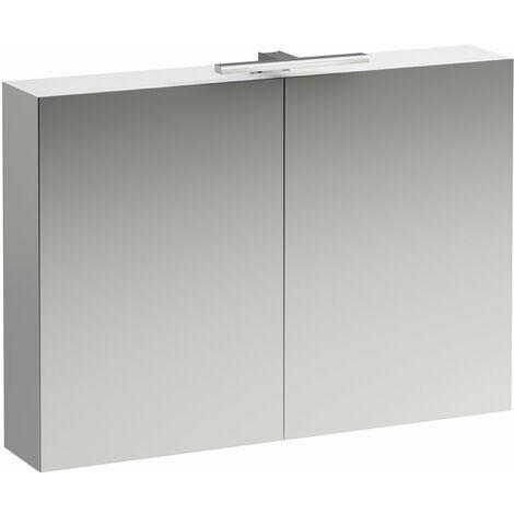 Laufen Armoire de toilette bas coulissante 1000 mm, 2 portes, élément lumineux LED, Coloris: Blanc brillant - H4028521102611