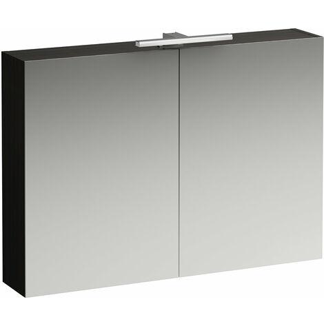 Laufen Armoire de toilette bas coulissante 1000 mm, 2 portes, élément lumineux LED, Coloris: Orme foncé - H4028521102631