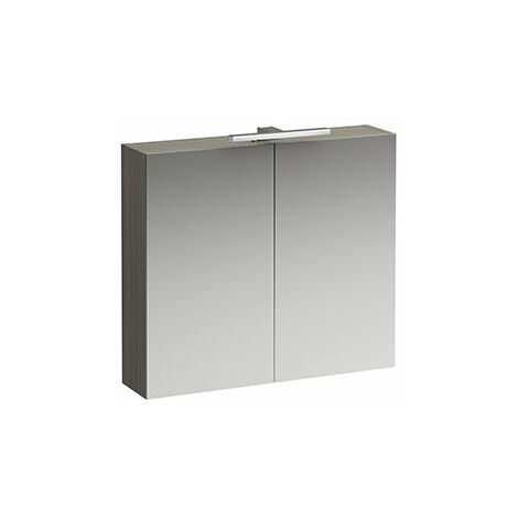 Laufen Armoire de toilette courante Base 800 mm, 2 portes, élément lumineux LED, Coloris: Lumière d'orme - H4028021102621