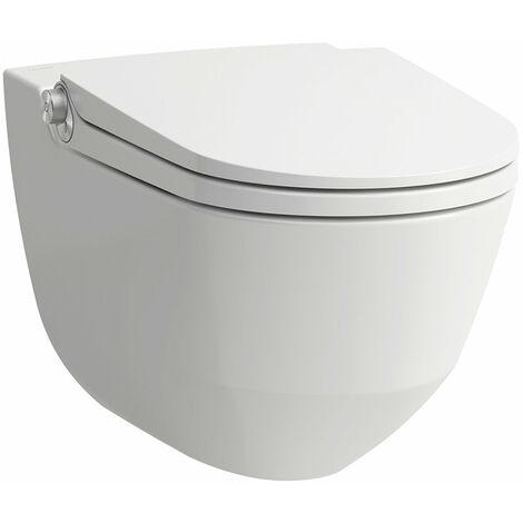 Laufen Cabine de douche Cleanet Riva, encastrée, murale, commande à distance, siège WC avec couvercle, Coloris: Neige (blanc mat) - H8206917570001