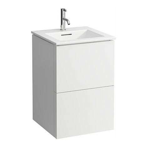 Laufen Kartell Kombipack, combinación de lavabo y subestructura de lavabo con 2 cajones, 500x500, color: gris guijarro - H8603316411041