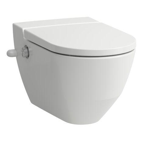 Laufen Navia Cleanet Dusch-WC, Tiefspüler 4,5/3-Liter wandhängend, spülrandlos, 37x58 cm, mit seitlicher Öffnung für externen Wasseranschluss 19,5 cm, Farbe: weiss matt - H8206017577171