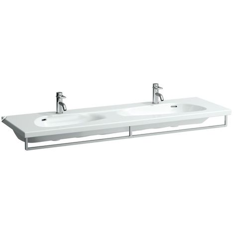 Laufen Palomba lavabo doble, con agujero para el grifo, sin rebosadero, 1600x500, color: Blanco con LCC - H8148094001111