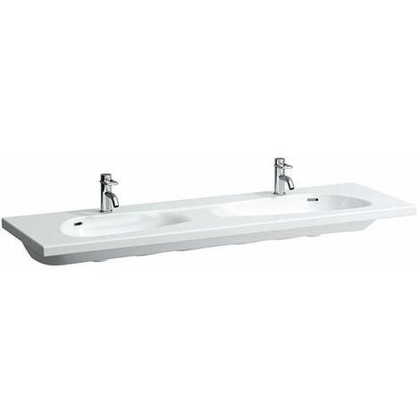 Laufen Palomba lavabo doble, sin agujero para el grifo, con rebosadero, 1600x500, color: Blanco con LCC - H8148094001091