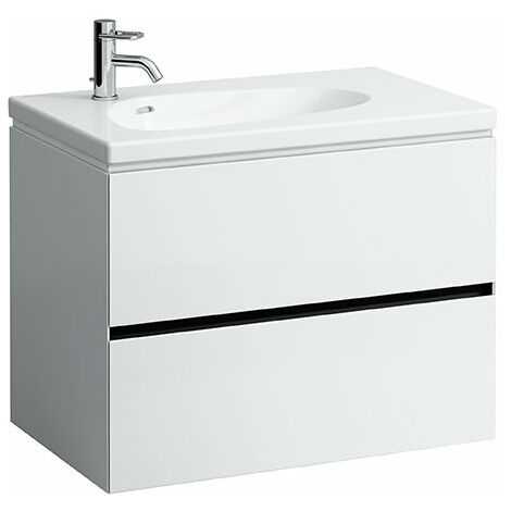 Laufen Palomba Neceser para lavabo 814804, sin zócalo, 2 cajones, 575x785x495, color: Nieve (blanco mate) - H4072021802201