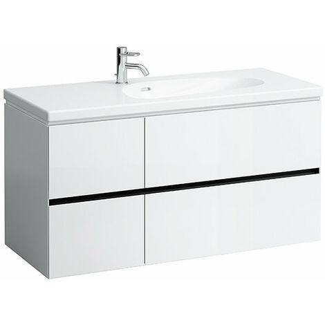 Laufen Palomba Neceser para lavabo 814806, sin zócalo, 4 cajones, 575x1185x495, color: Nieve (blanco mate) - H4073041802201
