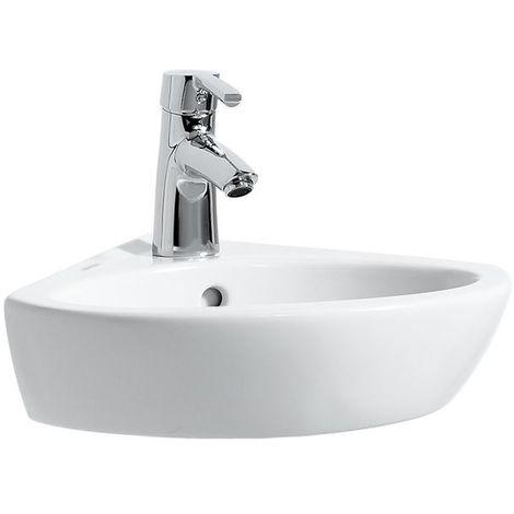 Laufen PRO B Lavabo de esquina, sin agujero para grifo, con rebosadero, 440x380, blanco, color: Blanco con LCC - H8169584001091