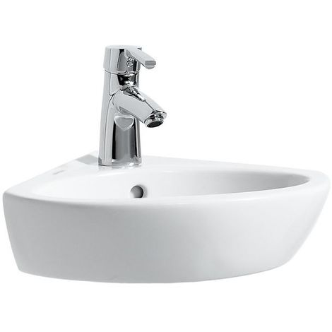 Laufen PRO B Lavabo de esquina, sin agujero para grifo, con rebosadero, 440x380, blanco, color: Blanco - H8169580001091