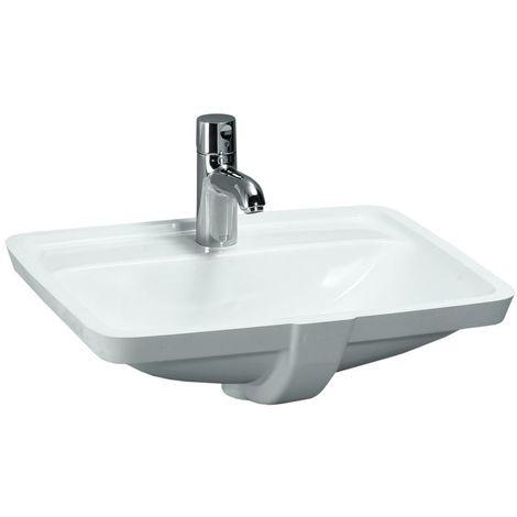 Laufen PRO S lavabo à encastrer, 3 trous pour robinet, avec trop-plein, 525x400, US fermé, blanc, Coloris: Blanc - H8119660001081