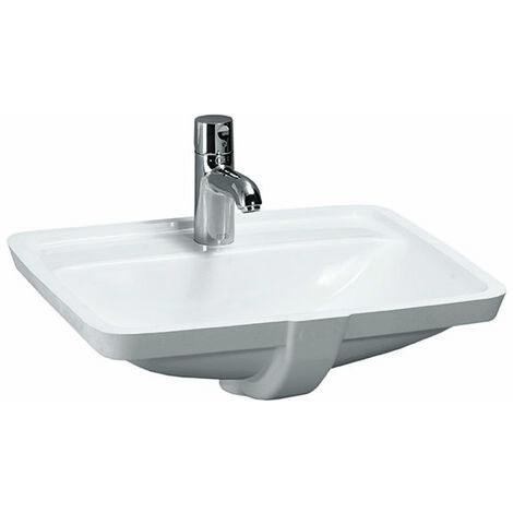 Laufen PRO S Lavabo empotrado, sin agujero para grifo, con rebosadero, 525x400, US cerrado, blanco, color: Blanco - H8119660001091