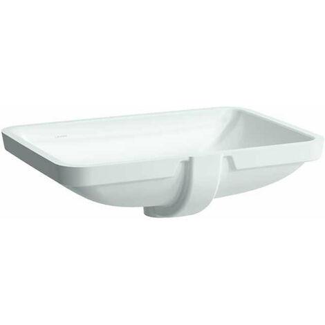 Laufen PRO S Lavabo empotrado, sin agujero para grifo, con rebosadero, 595x430, US cerrado, blanco, color: Blanco - H8119680001091