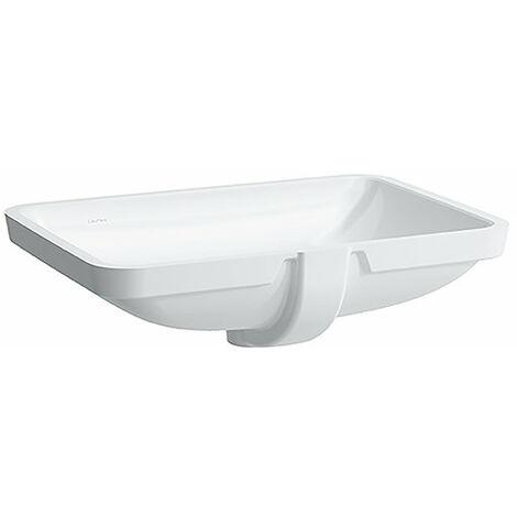 Laufen PRO S Lavabo empotrado, sin agujero para grifo, con rebosadero, 645x450, US cerrado, blanco, color: Blanco con LCC - H8119694001091
