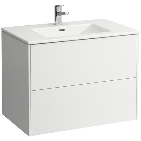 Laufen Pro S Set Base, lavabo, 1 agujero para grifo, rebosadero, incl. mueble bajo lavabo, 2 cajones, 1000x500mm, color: Blanco brillante - H8649622611041