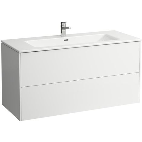 Laufen Pro S Set Base, lavabo, 1 agujero para grifo, rebosadero, incl. mueble bajo lavabo, 2 cajones, 1200x500mm, color: Luz de olmo - H8649632621041