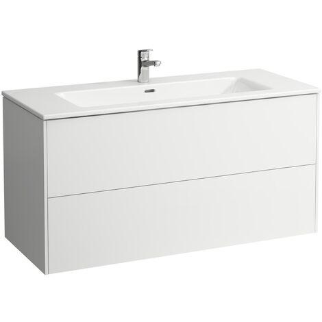 Laufen Pro S Set Base, lavabo, 1 agujero para grifo, rebosadero, incl. mueble bajo lavabo, 2 cajones, 1200x500mm, color: Nieve (blanco mate) - H8649632601041