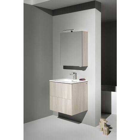 Laufen Pro S Set Base, lavabo, 1 agujero para grifo, rebosadero, incl. mueble bajo lavabo, 2 cajones, 600x500mm, color: Luz de olmo - H8649602621041