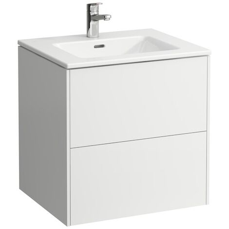 Laufen Pro S Set Base, lavabo, 1 agujero para grifo, rebosadero, incl. mueble bajo lavabo, 2 cajones, 600x500mm, color: Nieve (blanco mate) - H8649602601041