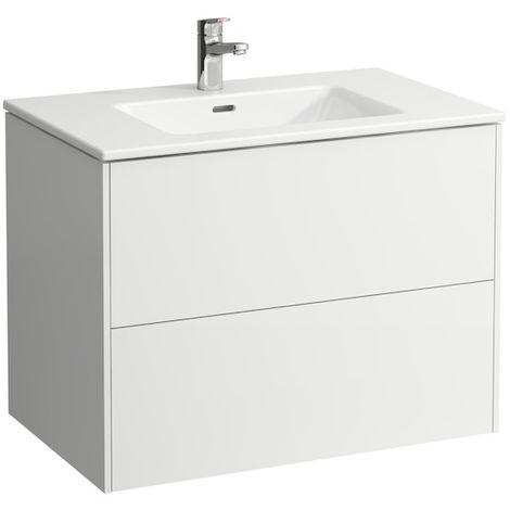 Laufen Pro S Set Base, lavabo, 1 agujero para grifo, rebosadero, incl. mueble bajo lavabo, 2 cajones, 800x500mm, color: Luz de olmo - H8649612621041