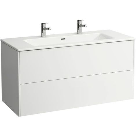 Laufen Pro S Set Base, lavabo, 2 agujeros para grifos, rebosadero, incl. mueble bajo lavabo, 2 cajones, 1200x500mm, color: Luz de olmo - H8649632621071