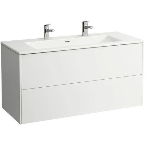 Laufen Pro S Set Base, lavabo, 2 agujeros para grifos, rebosadero, incl. mueble bajo lavabo, 2 cajones, 1200x500mm, color: Nieve (blanco mate) - H8649632601071