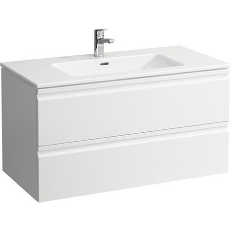 Laufen Pro S Set, lavabo, 1 agujero para grifo, rebosadero, incl. mueble bajo lavabo, 2 cajones, 1000x500mm, color: Blanco brillante - H8619654751041