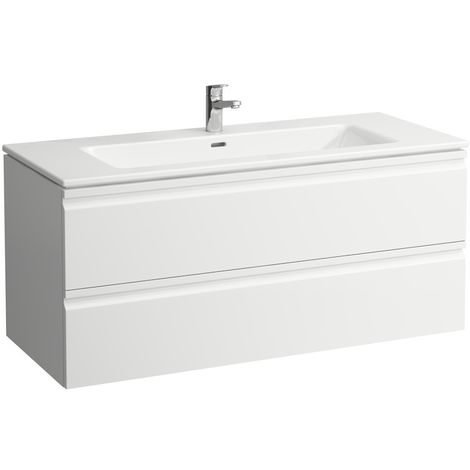 Laufen Pro S Set, lavabo, 1 agujero para grifo, rebosadero, incl. mueble bajo lavabo, 2 cajones, 1200x500mm, color: Blanco brillante - H8619674751041