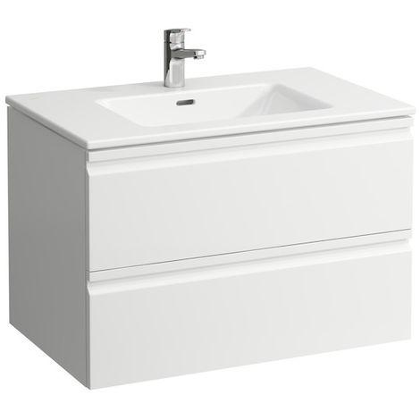 Laufen Pro S Set, lavabo, 1 agujero para grifo, rebosadero, incl. mueble bajo lavabo, 2 cajones, 800x500mm, color: Nieve (blanco mate) - H8619634631041