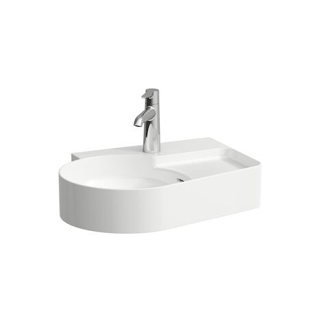 Laufen VAL Countertop wash basin, without tap hole, with overflow, 530x400, white, semi-dryer area on the right, US closed, colour: White - H8162880001091