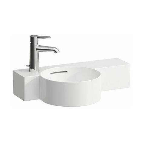 Laufen VAL Handwaschbecken rund, 1 Hahnloch links, mit Überlauf, 550x315, weiß, Ablage rechts, Farbe: Weiß - H8152830001051