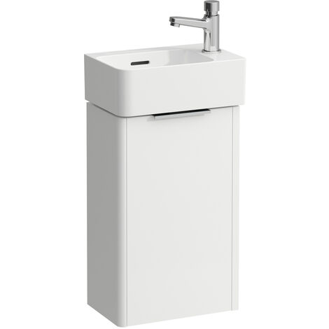 Laufen Val Set, washbasin H815280, 1 tap hole right, overflow, incl. base vanity unit Base, 1 door, hinge right, colour: Snow (white matt) - H8622802601061